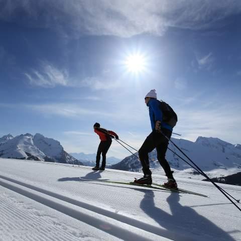Ski de fond sur la piste d'accés