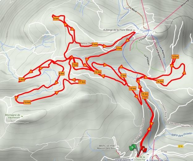 Parcours de ski de fond de 17 km