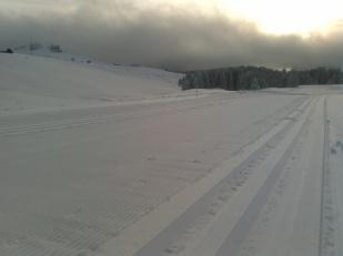 Tout le domaine de ski de fond est repeint en blanc.