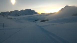 Lever de soleil sur le domaine de ski de fond de Beauregard