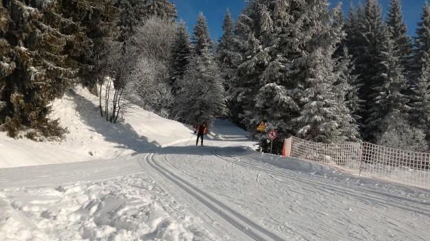 Le soleil arrive sur les piste de ski de fond de Beauregard.