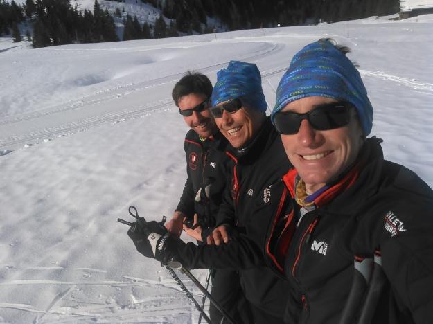 l'équipe du ski de fond de Beauregard, Benoît, Alain et David.