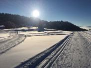 couche de soleil sur le domaine de ski de fond de Beauregard