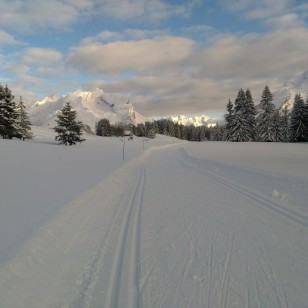 Massif de L'Etale et Merdassier vue de la piste bleue du Nant. Ski de fond Beauregard.
